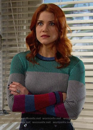 Sally's colorblock sweater on The Bold and the Beautiful
