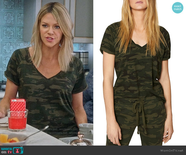 Sanctuary Camo V-Neck Tee worn by Kaitlin Olson on The Mick