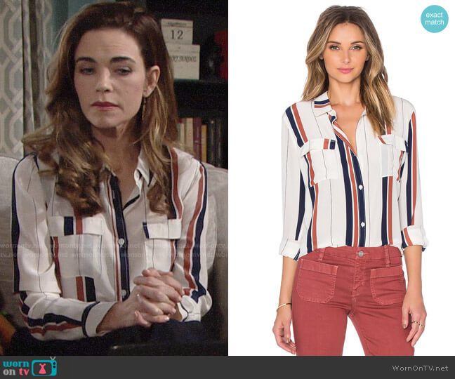 Sanctuary Silk Tailored Boyfriend Shirt  worn by Victoria Newman (Amelia Heinle) on The Young & the Restless