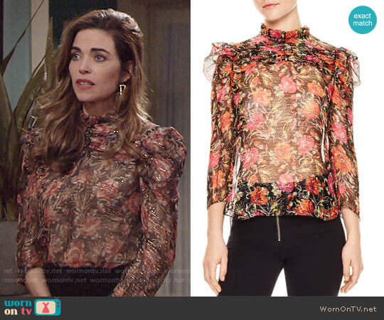 Sandro Amina Floral-Print Metallic-Stripe Top worn by Victoria Newman (Amelia Heinle) on The Young & the Restless
