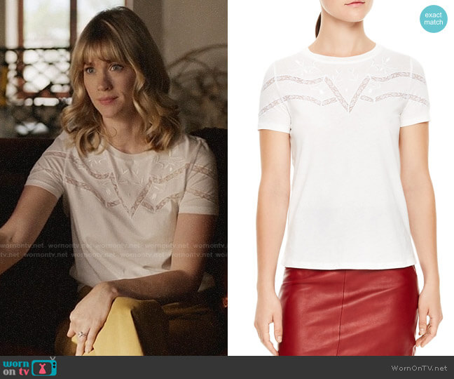 Sandro Lilou Lace-Inset Tee worn by Melissa Shart (January Jones) on Last Man On Earth