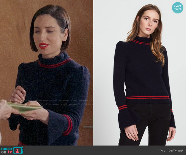 Sandro Sweater with Frilled Neck worn by Zoe Lister-Jones on Life in Pieces