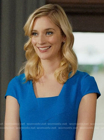 Serena's blue cap sleeve dress on UnReal