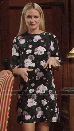 Sharon's black floral shift dress on The Young and the Restless