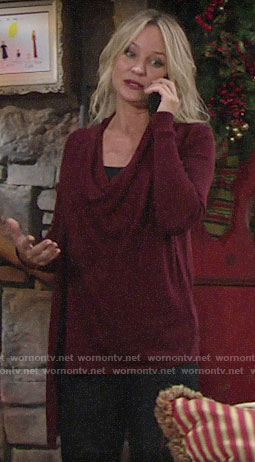 Sharon's red draped sweater with zip shoulder on The Young and the Restless