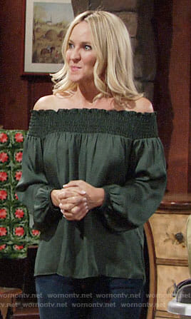 Sharon's green off-shoulder top on The Young and the Restless