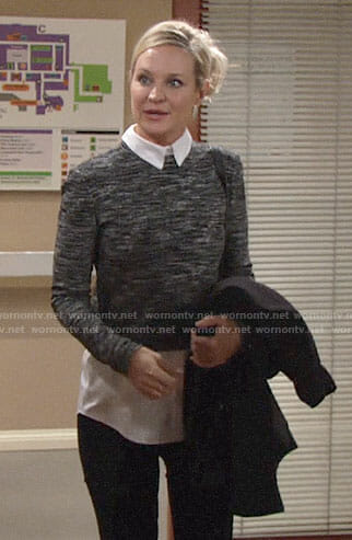 Sharon's grey layered sweater on The Young and the Restless