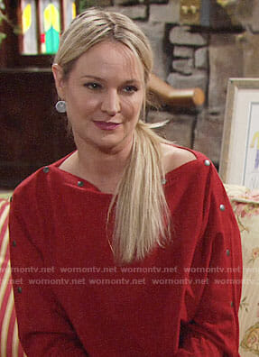 Sharon's red buttoned sleeve sweater on The Young and the Restless