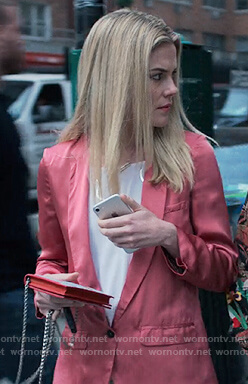 Trish's pink satin blazer on Jessica Jones