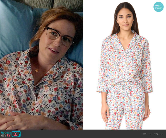 Sleepy Jones Liberty Edenham Floral Marina Pajama worn by Lena (Jenna Fischer) on Splitting Up Together