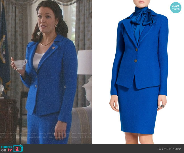 'Clair' Knit Jacket and Pencil Skirt by St John Collection worn by Bellamy Young on Scandal
