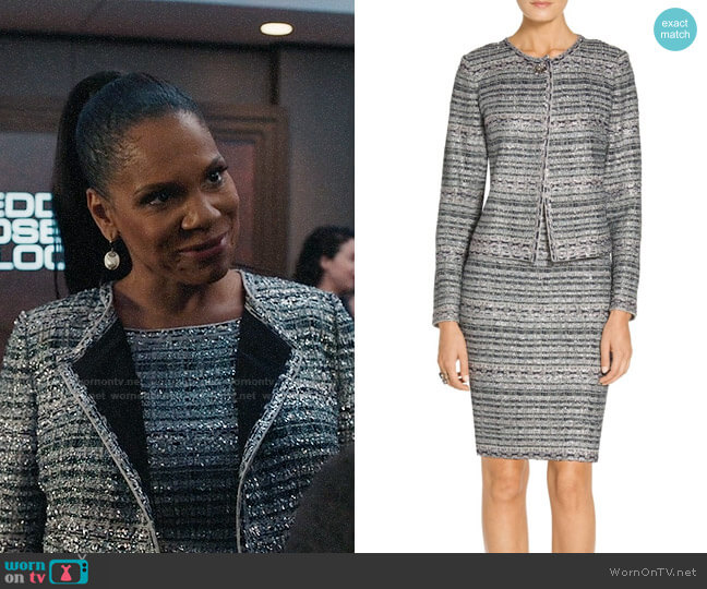 St John Colleciton Lacquered Metallic Ribbon Knit Jacket and Dress worn by Liz Reddick-Lawrence (Audra McDonald) on The Good Fight