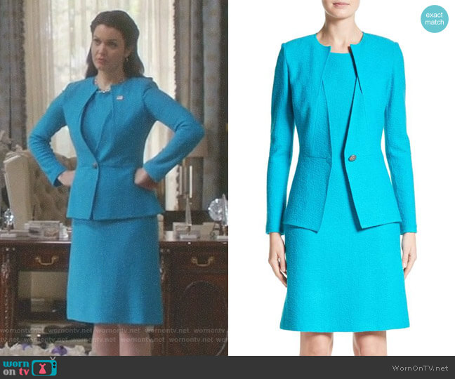 'Clair' Knit A-Line Dress and Peplum Jacket by St. John Colleciton worn by Mellie Grant (Bellamy Young) on Scandal