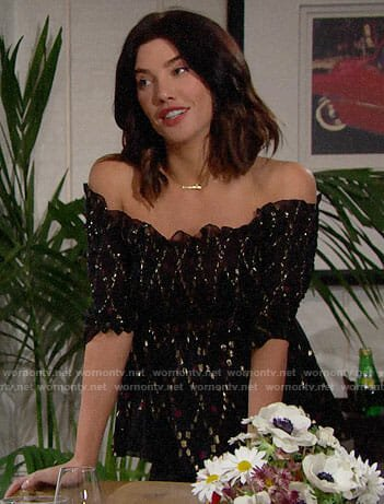 Steffy's black off-shoulder top with metallic pattern on The Bold and the Beautiful