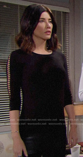 Steffy's black top with cutouts sleeves on The Bold and the Beautiful