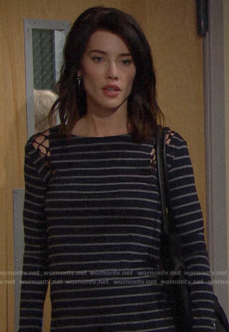 Steffy's striped top with lace-up shoulders on The Bold and the Beautiful