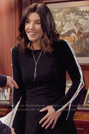 Steffy's black dress with pearl studded sleeves on The Bold and the Beautiful
