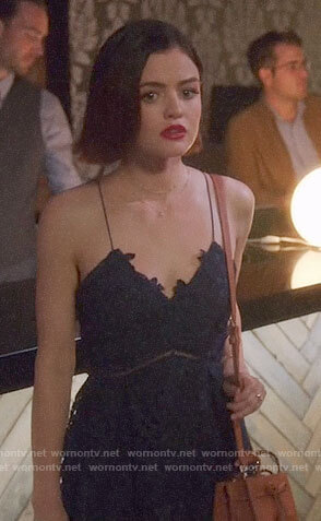 Stella's navy lace dress on Life Sentence