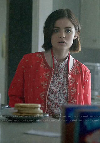 Stella's red embroidered bomber jacket on Life Sentence