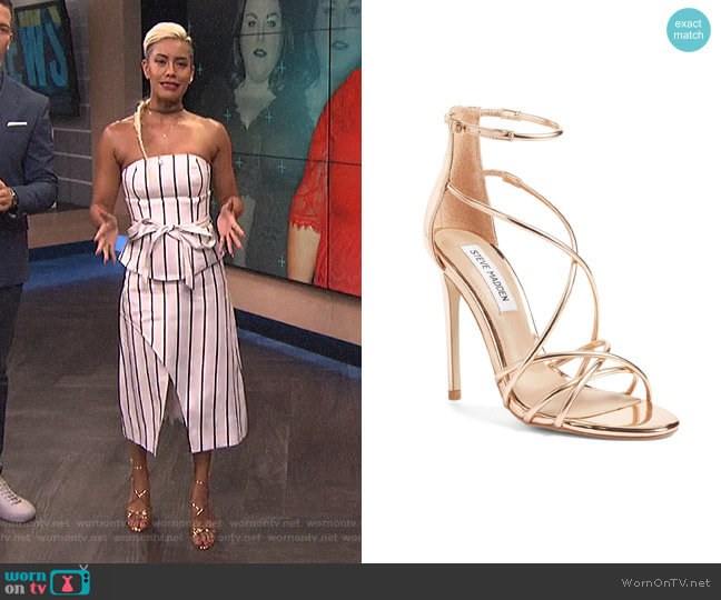 Satire Strappy Sandal by Steve Madden worn by Sibley Scoles on E! News