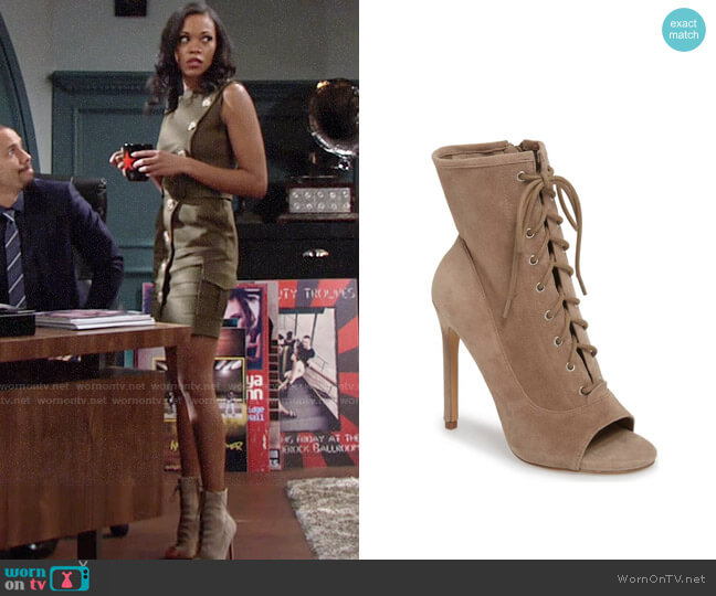 Steve Madden Saint Lace-up Bootie worn by Hilary Curtis (Mishael Morgan) on The Young & the Restless