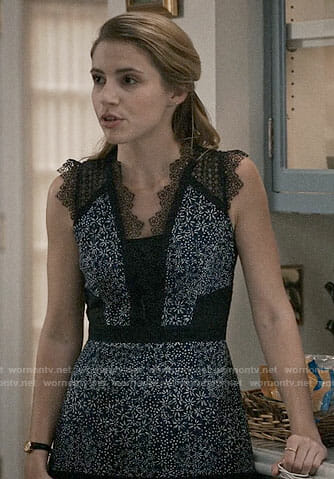 Stevie's blue floral dress with black lace on Madam Secretary