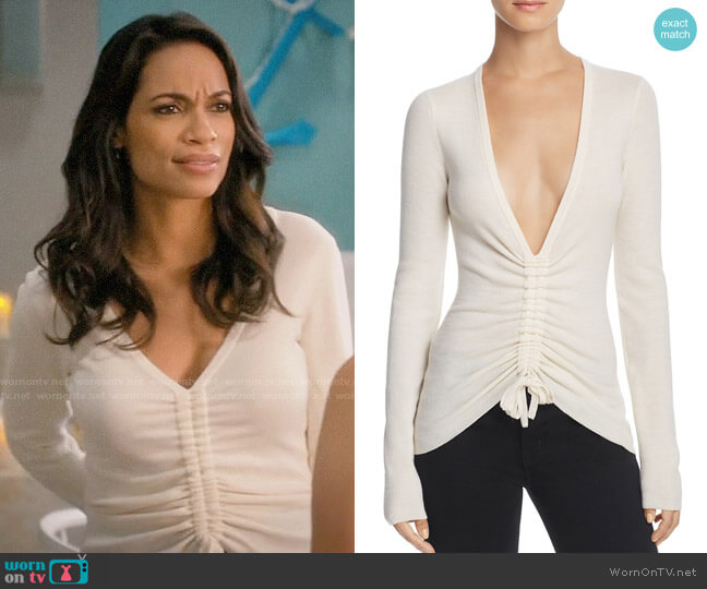 T by Alexander Wang Ruched Wool Top worn by Jane Ramos (Rosario Dawson) on Jane the Virgin