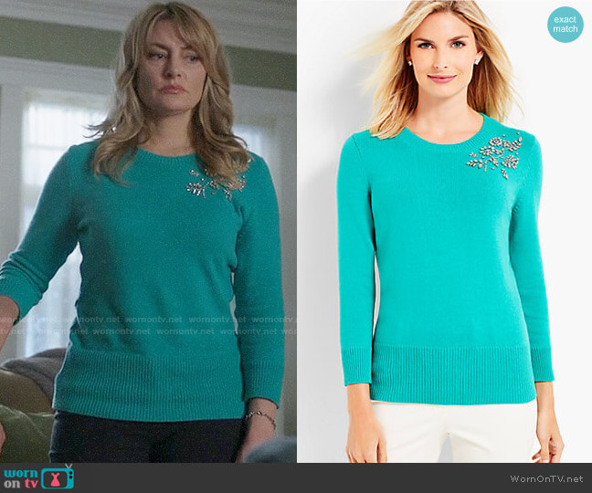 Talbots Beaded Corsage Sweater worn by Mädchen Amick on Riverdale