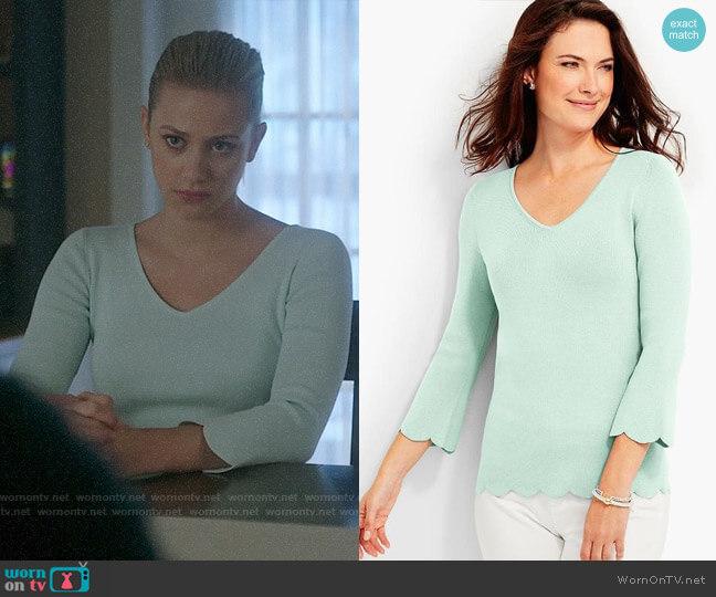 Talbots Scallop-Hem V-Neck Sweater worn by Betty Cooper (Lili Reinhart) on Riverdale