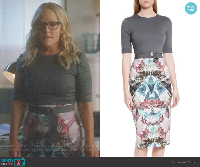Lucifer Boo Normal: WornOnTV: Linda's Grey Printed Belted Dress On Lucifer