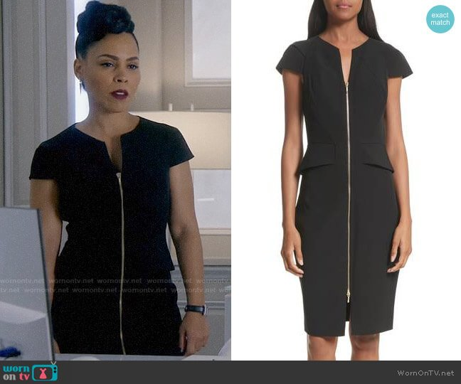 Ted Baker Architectural Pencil Dress worn by Tegan Price (Amirah Vann) on HTGAWM