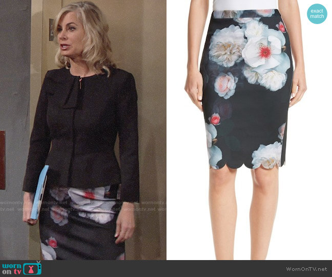 Ted Baker Laylie Chelsea Print Pencil Skirt worn by Eileen Davidson on The Young & the Restless