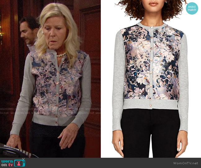 Ted Baker Naveya Eloquent Jacquard Cardigan worn by Pamela Douglas (Alley Mills) on The Bold & the Beautiful
