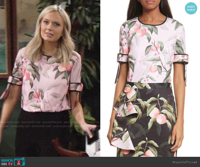 Ted Baker Peach Blossom Bow Sleeve Top worn by Abby Newman (Melissa Ordway) on The Young & the Restless