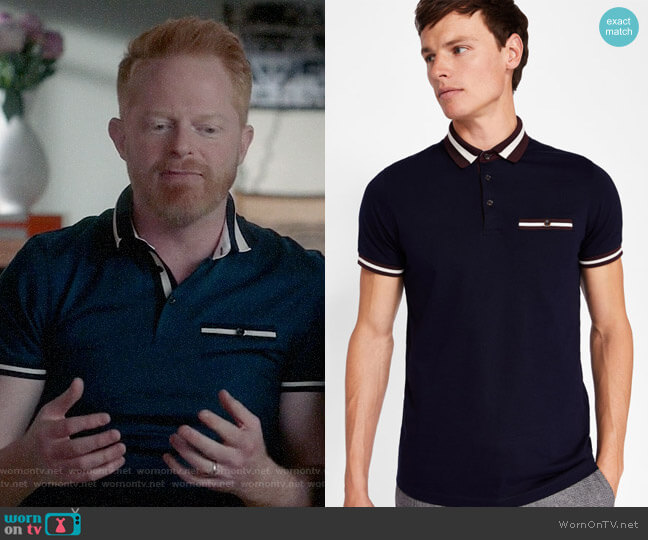 Ted Baker Stripe collar polo shirt worn by Jesse Tyler Ferguson on Modern Family