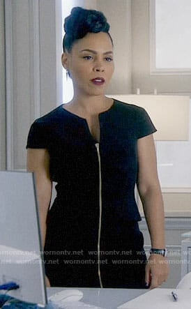 Tegan's black zip front dress on How to Get Away with Murder