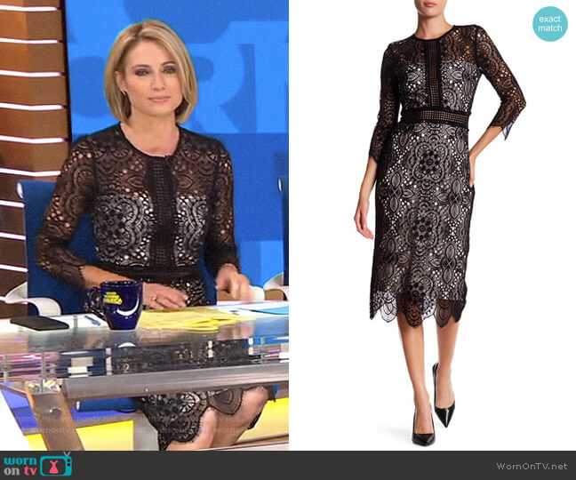 Lace Mix Openwork Dress by The Kooples worn by Amy Robach (Amy Robach) on Good Morning America