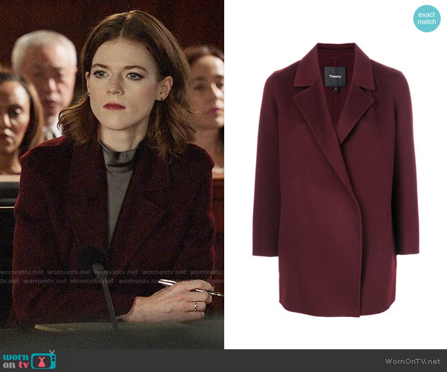 Theory Clairene Coat worn by Rose Leslie on The Good Fight