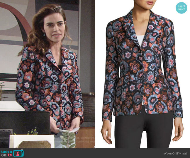 Theory Floral-Jacquard Two-Button Riding Jacket worn by Amelia Heinle on The Young & the Restless