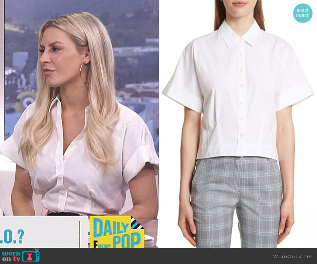 Stretch Cotton Crop Button Down Shirt by Theory worn by Morgan Stewart on E! News