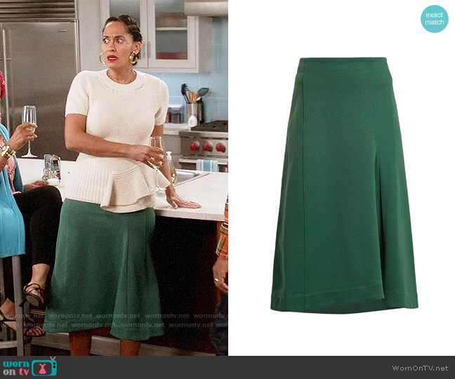 Tibi Topstitched knee-length A-line skirt worn by Tracee Ellis Ross on Blackish