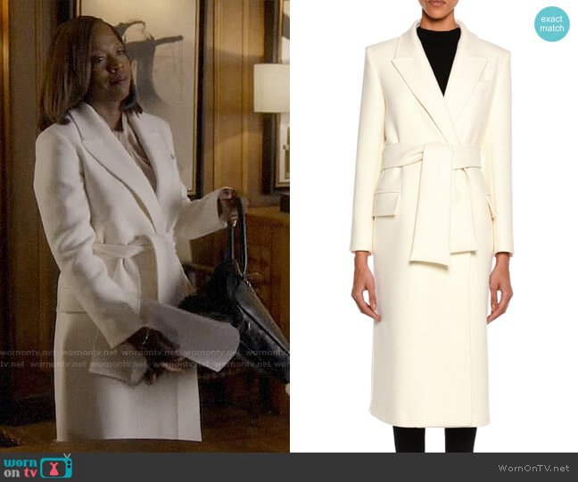 Tom Ford Tailored Wool Long Coat with Belt worn by Annalise Keating (Viola Davis) on HTGAWM