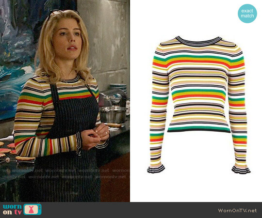 Topshop Hyper Stripe Sweater worn by Felicity Smoak (Emily Bett Rickards) on Arrow