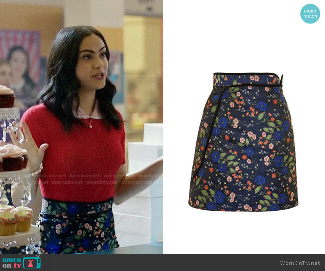 Topshop Satin Jacquard Wrap Skirt worn by Camila Mendes on Riverdale