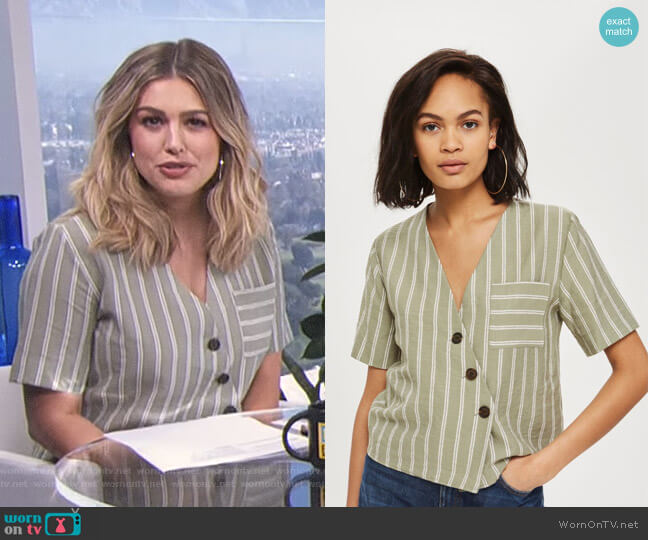 Striped Linen Shirt by Topshop worn by Carissa Loethen Culiner on E! News