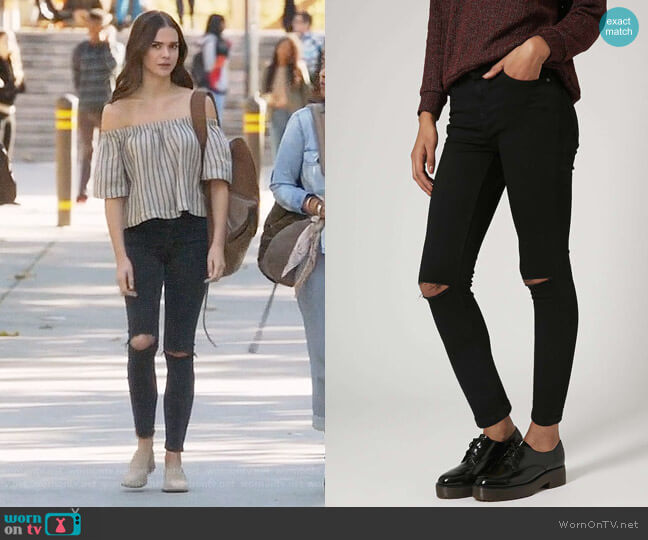 Topshop MOTO Black Ripped Jamie Jeans worn by Maia Mitchell on The Fosters