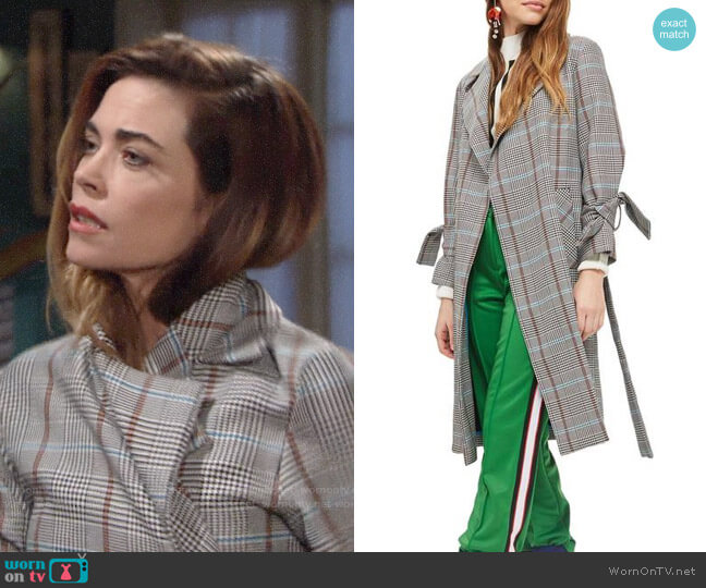 Topshop Check Belted Coat worn by Victoria Newman (Amelia Heinle) on The Young & the Restless