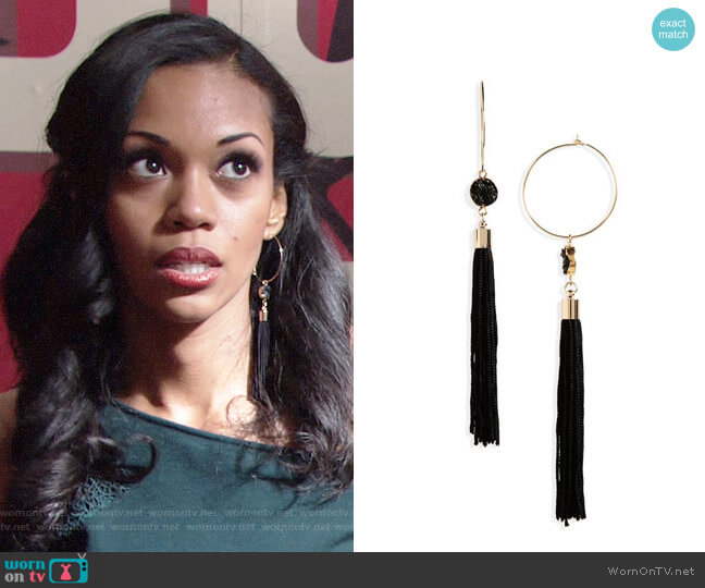 Topshop Hoop Tassel Earrings worn by Hilary Curtis (Mishael Morgan) on The Young & the Restless
