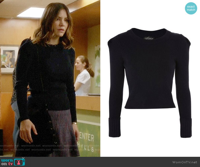 Topshop Puff Sleeve Ribbed Sweater worn by Katharine McPhee on Scorpion