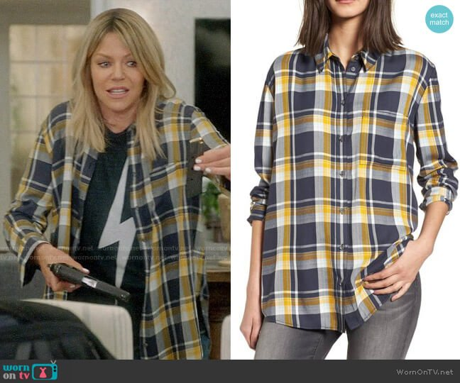 Treasure & Bond Plaid Boyfriend Shirt worn by Kaitlin Olson on The Mick